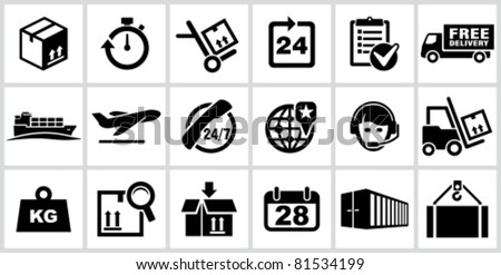 Vector black logistics and shipping icons set. All white areas are cut away from icons and black areas merged. - stock vector