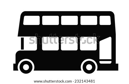 vector black London bus icon on white background - stock vector