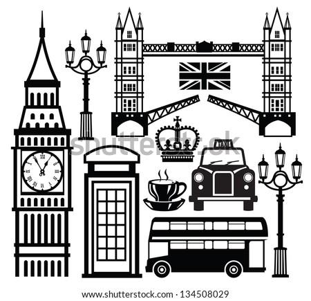 vector black london icon set on white - stock vector