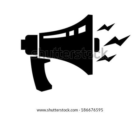 vector black loudspeaker icon on white backgorund - stock vector
