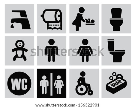 vector black man woman restroom icons set on gray - stock vector
