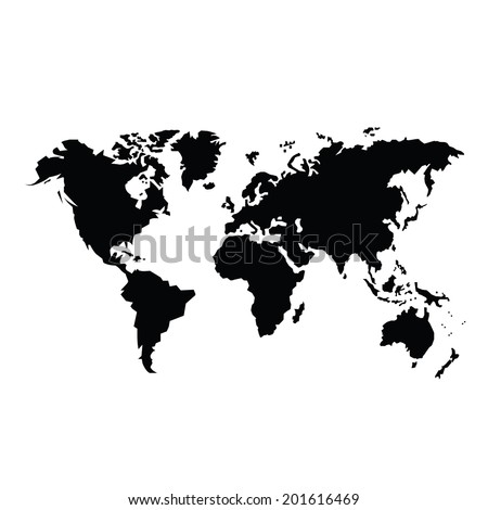 vector black map of the world  - stock vector