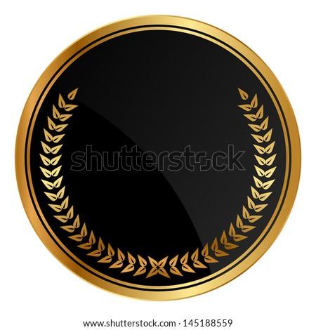 Vector black medal with gold laurels - stock vector