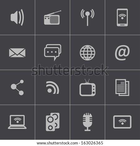 Vector black  media icons set - stock vector