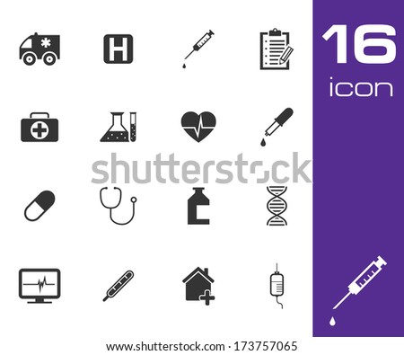 Vector black medical icon set on white background - stock vector