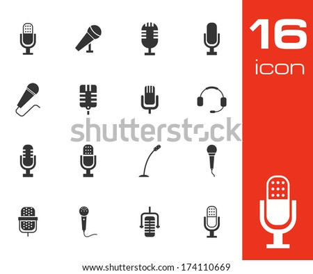 Vector black microphone icons set on white background - stock vector