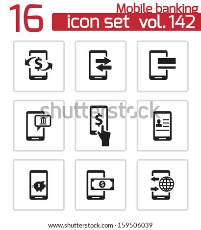 Vector black mobile banking icons set - stock vector