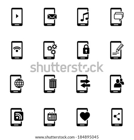 Vector black mobile icons set on white background - stock vector