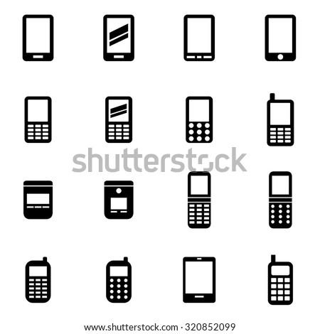 Vector black mobile phone icon set - stock vector