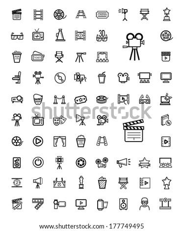 vector black movie icon set - stock vector