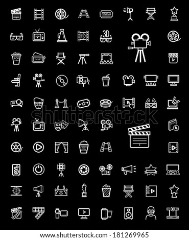 vector black movie icon set - stock vector