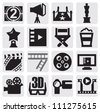 vector black movie icons set on gray - stock photo