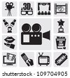 vector black movie technology icons set on gray - stock photo
