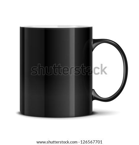 Vector Black mug cup isolated on white background - stock vector