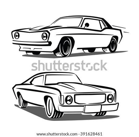 vector black muscle car icon on white background