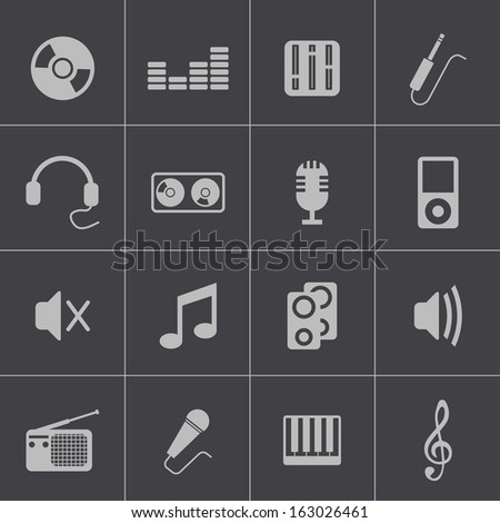 Vector black  music icons set - stock vector