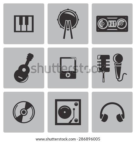 Vector black music icons set - stock vector