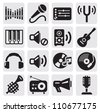 vector black music icons set on gray - stock photo
