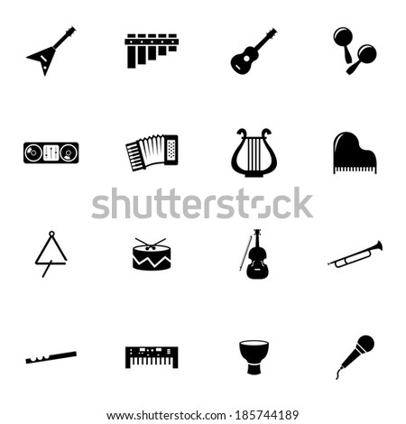 Vector black music instruments icons set on white background - stock vector