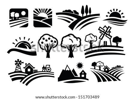 vector black nature icons set on white - stock vector