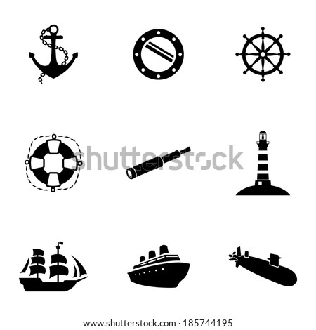 Vector black nautical icons set white background - stock vector