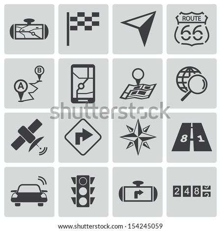 Vector black navigation icons set - stock vector