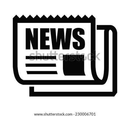 vector black newspaper icon on white background - stock vector