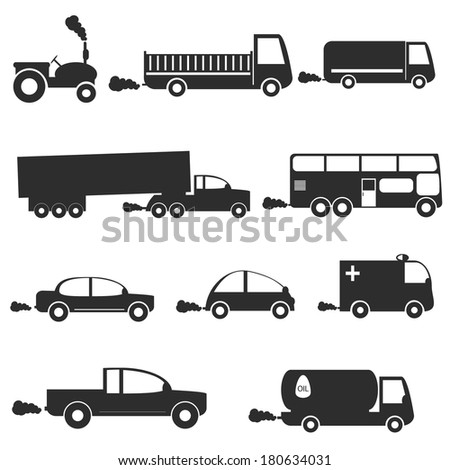 vector black of transport icons set - stock vector