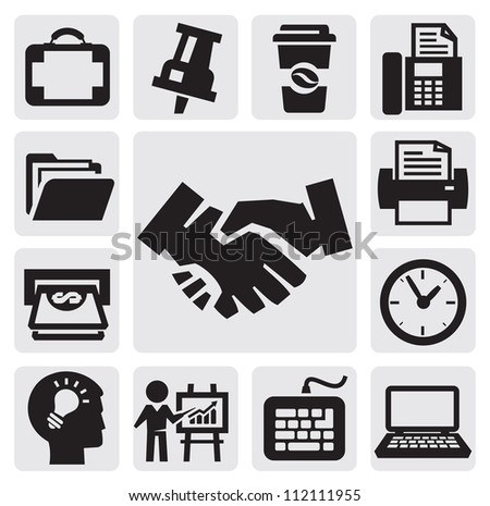 vector black office and business icons set - stock vector