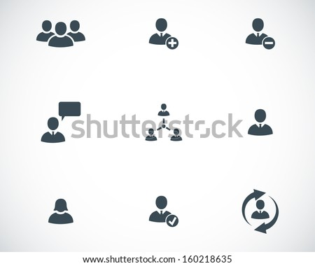 Vector black office people icons set - stock vector
