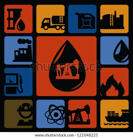 vector black oil icons set on color background - stock vector