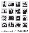 vector black oil icons set on gray - stock vector