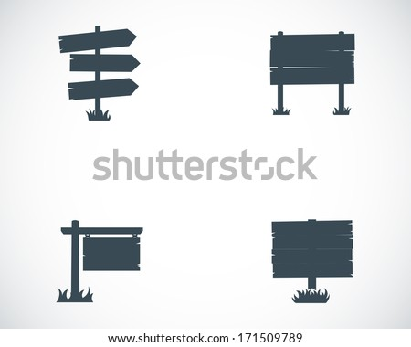 Vector black old wood sign set on white background - stock vector