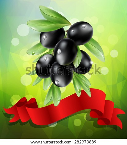 vector black  olive branch with red ribbon on a green background with bokeh - stock vector