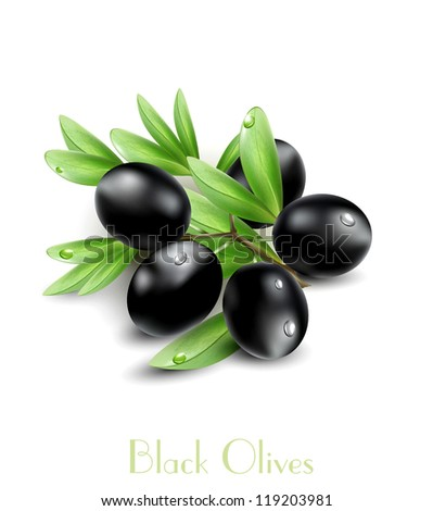 Vector black olives isolated on a white background - stock vector