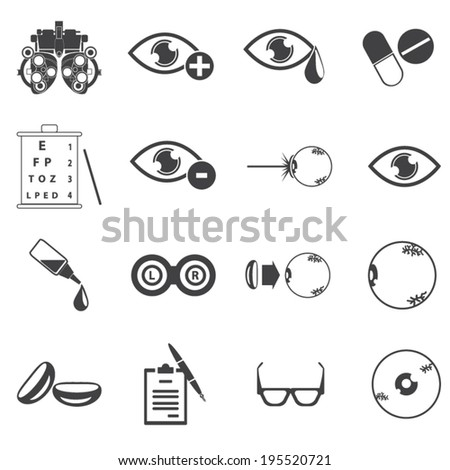 Vector black optometry icons set - stock vector