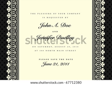 Vector black ornate frame. Easy to edit. Perfect for invitations or announcements. - stock vector