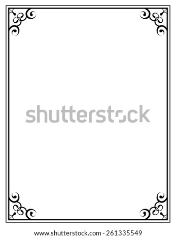 vector black ornate frame on a white background