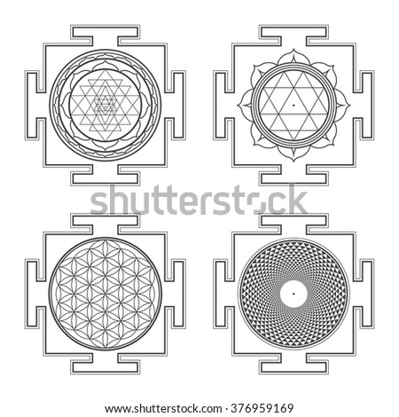 vector black outline hinduism Sri Durga Flower of life Sahasrara yantra illustrations diagram isolated collection white background  - stock vector