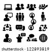 vector black people icons set on gray - stock photo