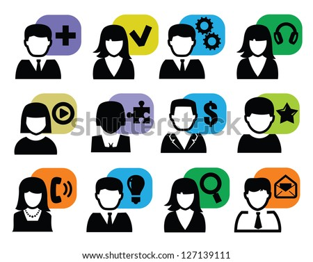 vector black people icons set on white - stock vector