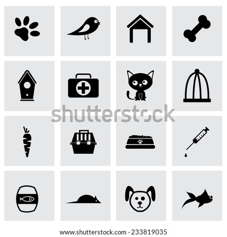 Vector black pet icons set on grey background