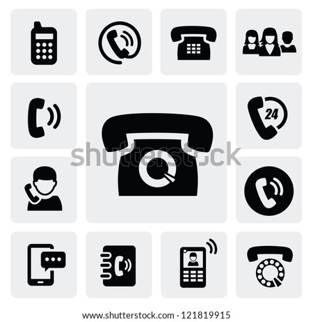 vector black phone icons set on gray - stock vector