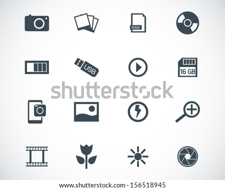 Vector black  photo icons set - stock vector
