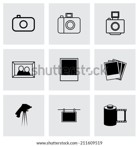 Vector black photo icons set on grey background - stock vector