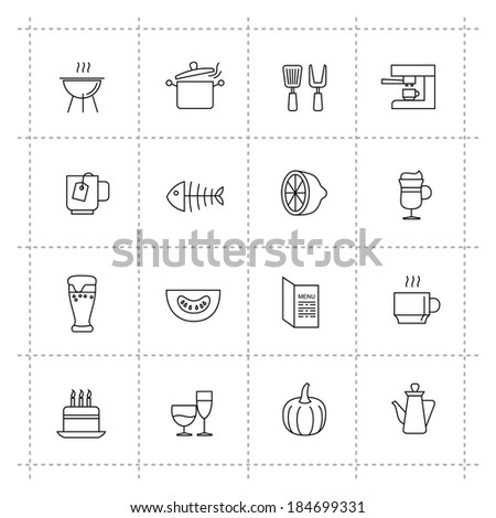 vector black pictogram food and kitchen icons set