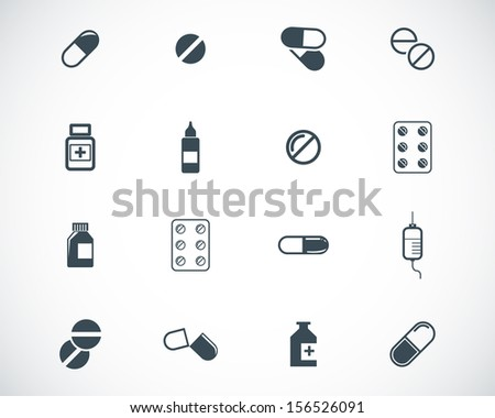 Vector black pills icon set - stock vector