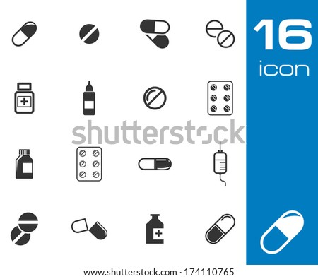 Vector black pills icon set on white background - stock vector