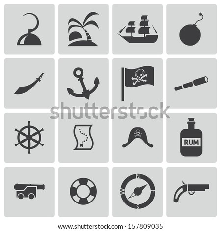 Vector black pirates icons set - stock vector