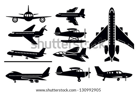 vector black planes icon set on white - stock vector